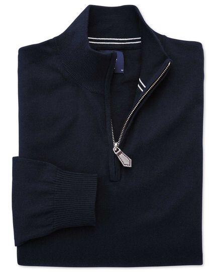 Navy cotton cashmere zip neck jumper