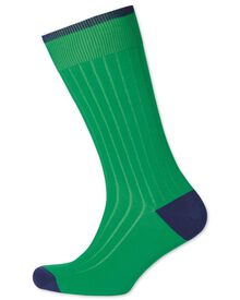 Green ribbed cotton rich socks