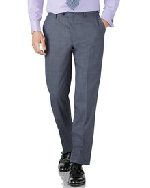 Light blue classic fit sharkskin travel suit trouser
