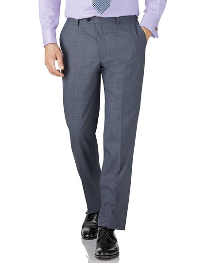 Light blue classic fit sharkskin travel suit pants