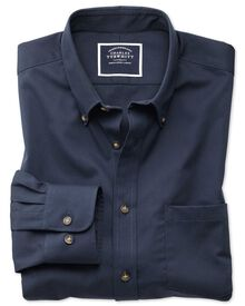 Bügelfreies Slim Fit Twill-Hemd in Marineblau