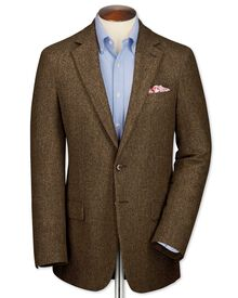 Classic fit tan tweed jacket