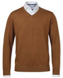 Tan merino wool v-neck sweater
