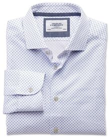Slim fit semi-spread collar non-iron business casual blue and pink circle print shirt