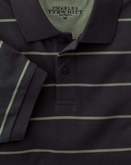 Navy and green multi stripe pique polo