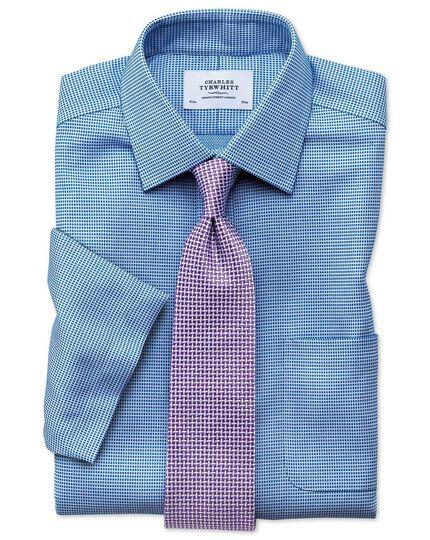Classic fit non-iron textured short sleeve blue shirt
