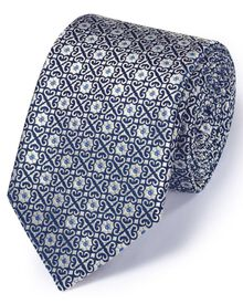 Silver silk English luxury geometric tie