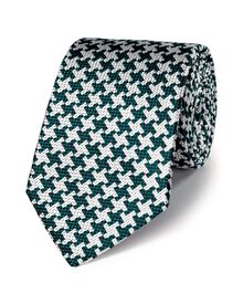 Green silk luxury oversized end-on-end puppytooth tie