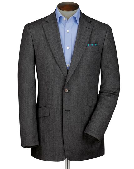 Grey classic fit herringbone blazer