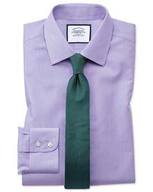 Slim fit non-iron short sleeve bengal stripe lilac shirt