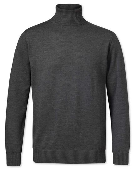 Charcoal merino wool roll neck jumper