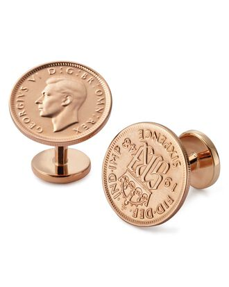 Six pence coin cuff links