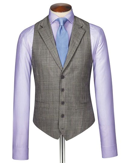 Grey Prince of Wales check Panama business suit vest