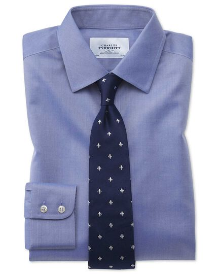 Extra slim fit non-iron twill mid blue shirt