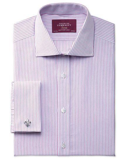 Slim fit semi-spread collar luxury poplin pink shirt
