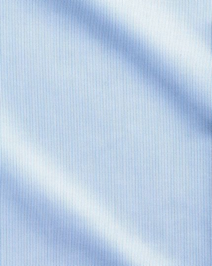 Slim fit semi-spread collar non-iron luxury hairline stripe sky blue shirt