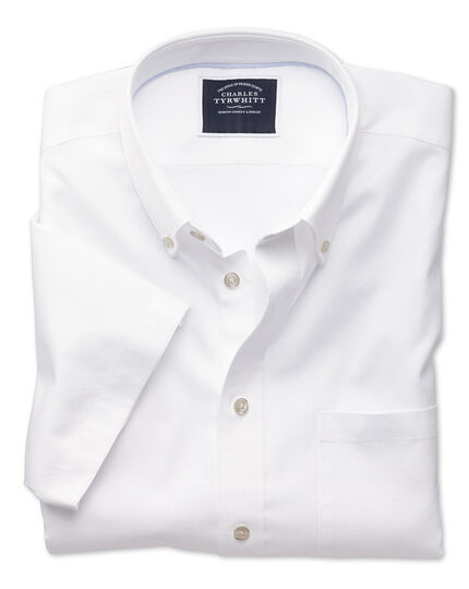Kurzärmeliges Classic Fit Oxfordhemd in Weiß