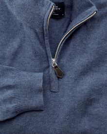 Blue cotton cashmere zip neck jumper