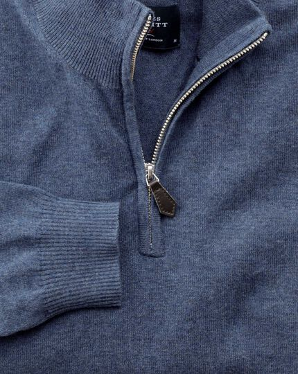 Blue cotton cashmere zip neck sweater