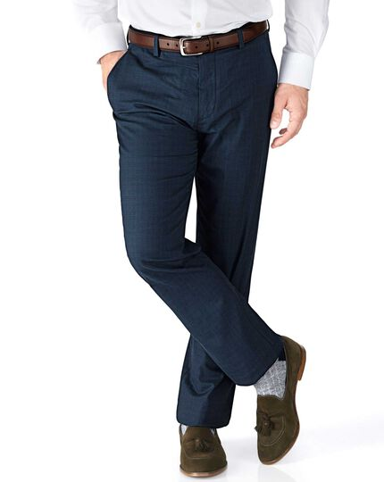 Indigo slim fit Prince of Wales check stretch pants