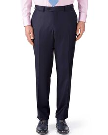 Navy classic fit birdseye travel suit trousers