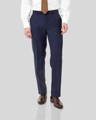 Navy classic fit birdseye travel suit trousers