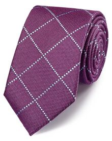 Purple classic windowpane check tie