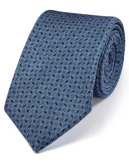 Indigo blue and navy wool luxury Italian geometric tie