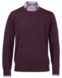 Wine merino wool crew neck sweater