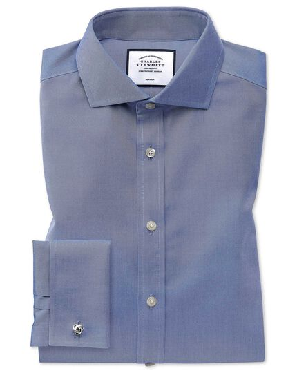 Slim fit spread collar non-iron twill mid blue shirt
