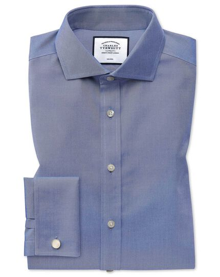Extra slim fit spread collar non-iron twill mid blue shirt
