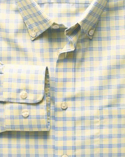 Slim fit non-iron poplin yellow and sky blue check shirt