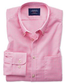 Slim fit non-iron Oxford gingham pink shirt