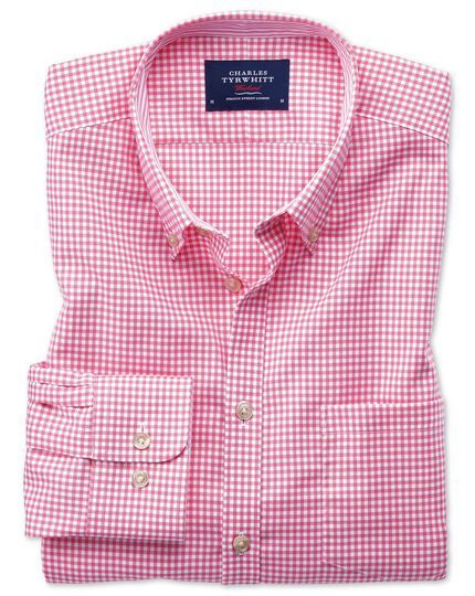 Bügelfreies Extra Slim Fit Oxfordhemd in rosa mit Gingham-Karos