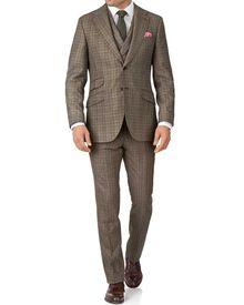 Tan check slim fit British flannel luxury suit
