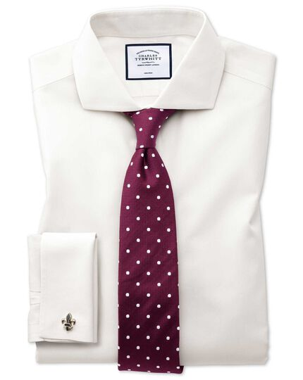 Extra slim fit cutaway collar non-iron poplin cream shirt