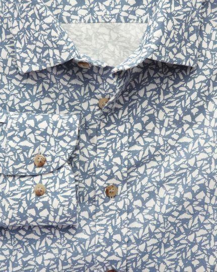 Extra slim fit sky blue leaf print shirt