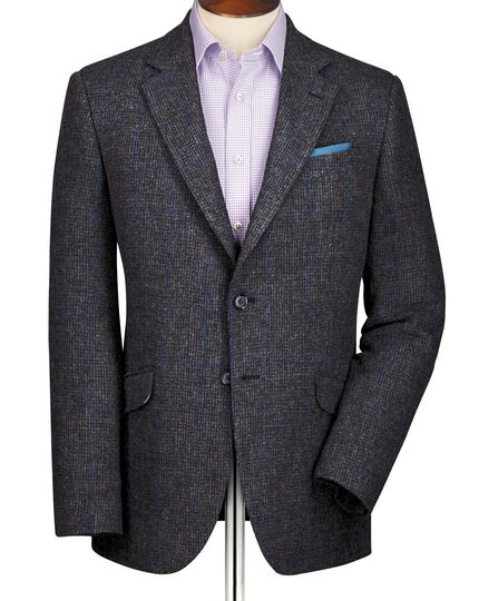Grey slim fit windowpane British tweed jacket