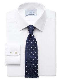 Extra slim fit small herringbone white shirt