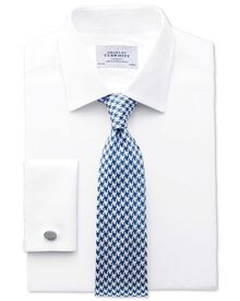 Classic fit Pima cotton herringbone white shirt