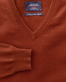 Orange cotton cashmere v-neck jumper