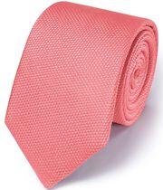 Coral silk plain classic tie