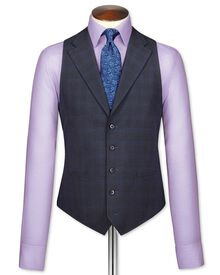 Blue check flannel business suit vest