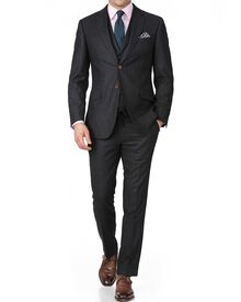 Charcoal stripe slim fit saxony business suit