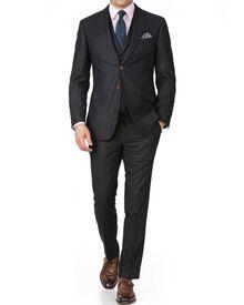 Charcoal stripe slim fit saxony business suit