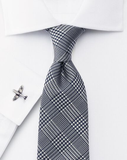 Navy silk classic Prince of Wales check tie