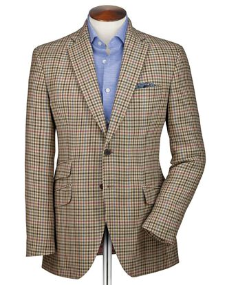 Slim fit beige check luxury border tweed jacket