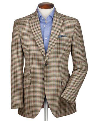 Classic fit beige check luxury border tweed jacket