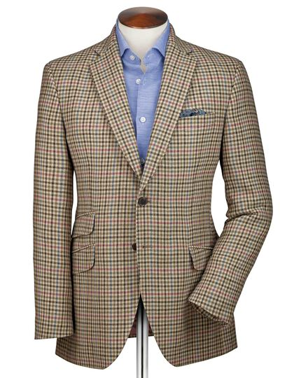 Classic fit beige check luxury border tweed jacket