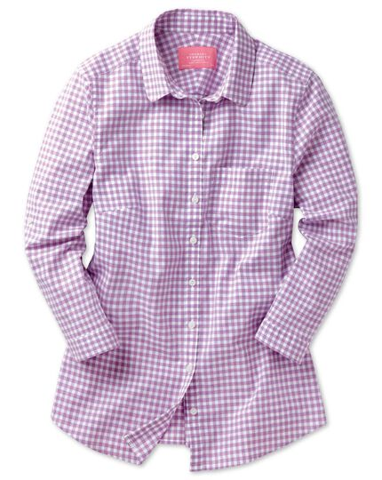 Women's semi-fitted cotton check lilac tab sleeve shirt